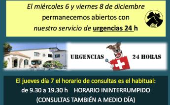 Los días 6 y 8 de diciembre permanece abierto nuestro SERVICIO de URGENCIAS 24 horas